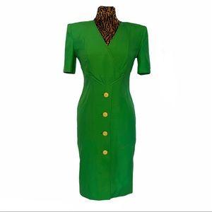Vintage Valentino Boutique 70's Green Midi Dress